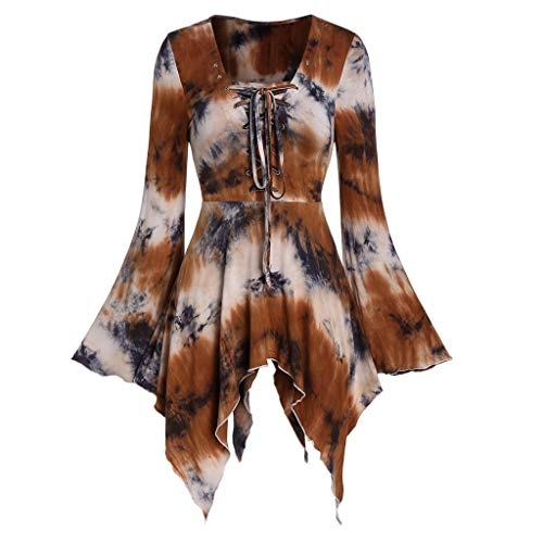 Lazzboy Frauen-Halloween-Aufflackernhülse Bindungsfärben schnüren Sich Oben gotische asymmetrische T-Shirt Oberseiten(Kaffee,M)