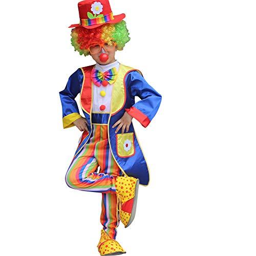 Yaxuan Halloween Kinder Clown Fancy Kleid Jumpsuit Kostüm-Outfit Halloween/Karnevalsfest/Enthält Die Nase, Haare, Hut, Schuhe, Gläser des Clowns,Picturecolor,XXL