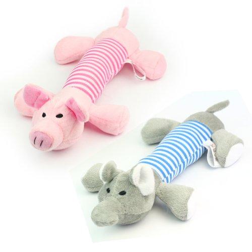 2 X Nuevo Juguete Mordedor Felpa para Perro Mascota Cachorro Color Rosa Gris