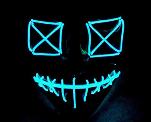 Queta Halloween Masken 2019 Version LED Leuchten Maske Halloween Accessoires Karneval Maske für Festivalparty Cosplay Batterie Angetrieben (Blau) (2019 Blaue Halloween-maske)