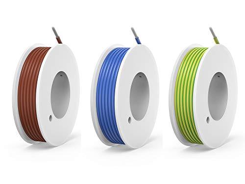 NorthPada 18 AWG 0,75mm² Elektronik Elektrischer Draht Kit Litzen Silikon Leitungen Draht Verzinntes Kupfer Kabel 3 Farbe(Braun+Blau+Gelb/Grün) 600V 7,5A 3 x 4 meter