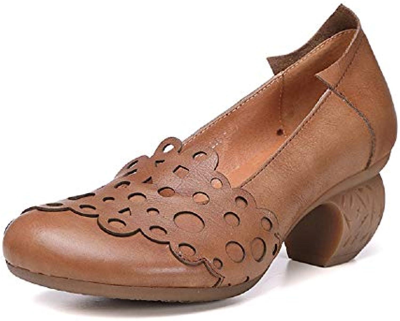 ZHRUI Block Femme Mary Jane évider Chaussures en la Cuir à la en Main (coloré : Marron, Taille : EU 38)B07HVR3V9RParent e96e20