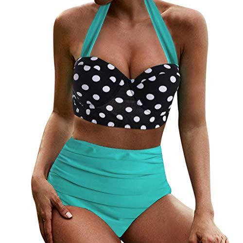 Vintage Print Totem Push Up Sexy Badebekleidung Bikini Set Frau Bikini mit Rüschen Vogel Print Lace-up Quaste, Push Up Basic 2 Stück Bademode Sommer -