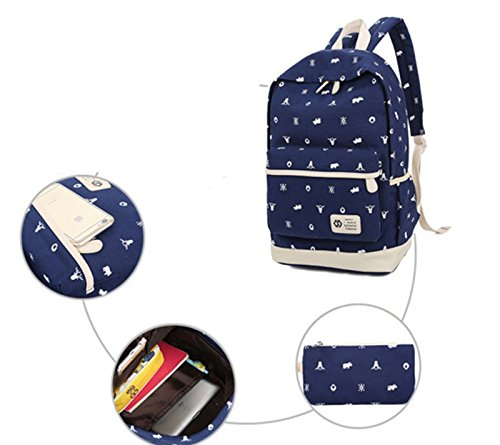 Ohmais 3PCS Rücksack Rucksäcke Rucksack Backpack Daypack Schulranzen Schulrucksack Wanderrucksack Schultasche Rucksack für Schülerin marine