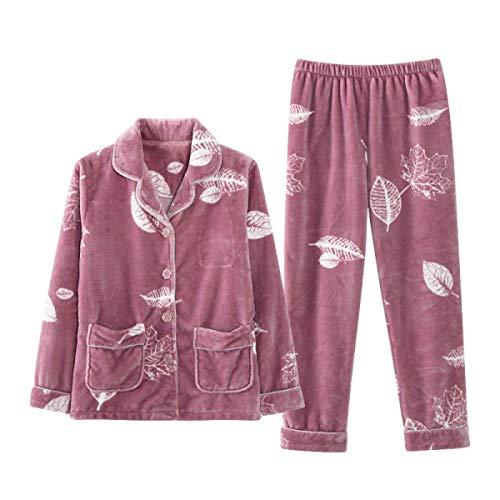 Emmay Damen Warm Komfort Nacht Langarm Wärmen Wesentlich Sche Pyjama Set Top Und Hosen Pyjama Luxus Flanell Soft Pyjama Druck Jogging Pyjamas (Color : Pink, Size : L)