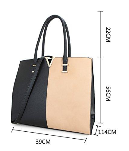 LeahWard® Damen Groß Mode Essener Berühmtheit Tragetaschen Damen Qualität Schnell verkaufend Modisch Handtaschen CWS00319B CWS00319C CWS00319 Schwarz/Khaki V