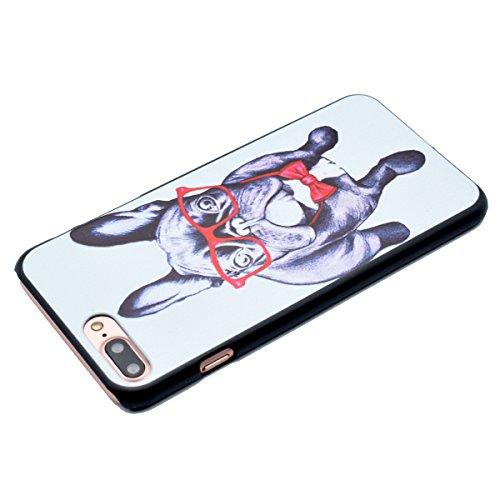 Etsue Coque pour iPhone 7 Plus,PC Plastique Coloré Phone Case Cover pour Wiko Fever 4G,Mode Cool Plastique Hard Housse pour iPhone 7 Plus,Hibou Ciel Fleur etc Coloré Motif Design Hard Case pour iPhone chien de bande dessinée