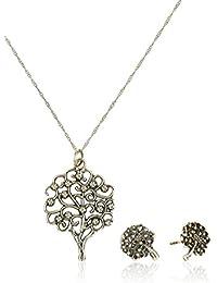 Córdoba Jewels | Conjunto de gargantilla y pendientes en Plata de Ley 925. Diseño Árbol de la Vida