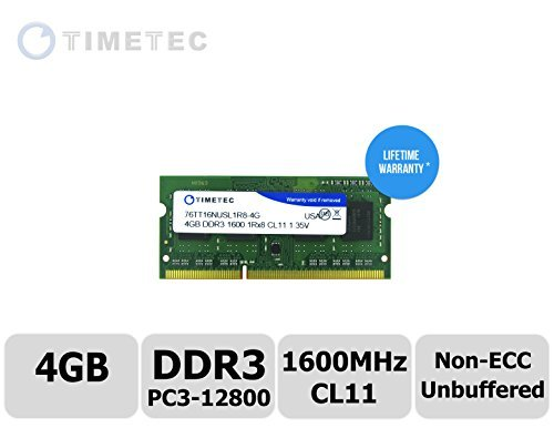 Timetec (76TT16NUSL1R8-4G) 4GB DDR3 1600MHz (PC3 12800) Non ECC Unbuffered 1.35V CL11 1Rx8 512x8 Single Rank 204 Pin SODIMM Laptop PC Computer Memory Ram Module Upgrade (4GB)