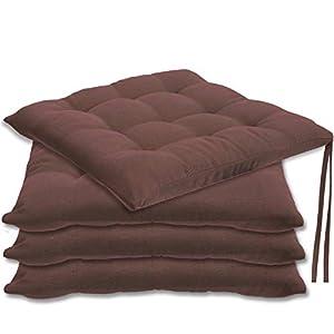 Gräfenstayn® 4er-Set Sitzkissen 40x40x3cm mit Haltebändern für Indoor und Outdoor mit Öko-Tex Siegel – (Fuchsia)