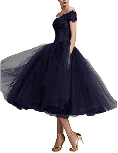 Beyonddress Damen Abendkleider Teelänge Elegant Cocktailkleid Spitze Ballkleider(Navy Blau,36)