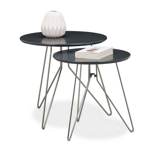 Relaxdays Beistelltisch 2er Set Wohnzimmertische aus Holz mit grau-matt lackierten Tischplatten im Durchmesser 48 und 40 cm als Couchtisch und Telefontisch in zwei verschiedenen Größen, grau matt -