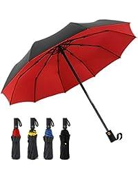 DORRISO Automático Abierto Cerrado Plegable Paraguas Mujer Hombres Portátil Viajar Trabajar Resistente al Viento Impermeable Antideslizante