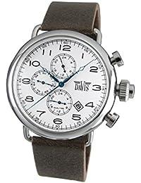 a34b86cd447f Davis 1931 - Reloj Piloto Hombre Retro Esfera Blanco Dia y Fecha Hora Dual…