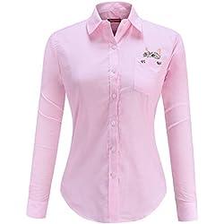 Dioufond Camisas Mujer Manga Larga Estampada de Gato con Bolsillo camiseta y Blusa (Rosa 34)