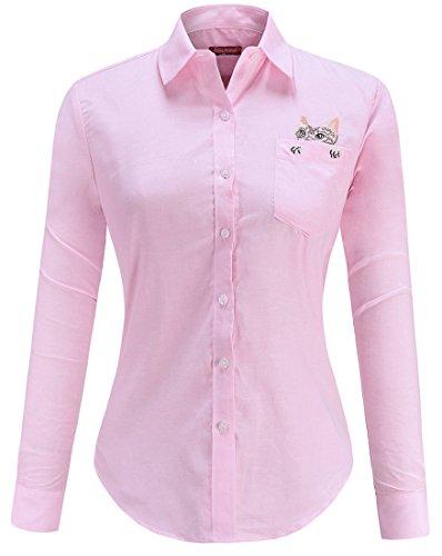 Dioufond Camisas Mujer Manga Larga Estampada de Gato con Bolsillo camiseta y Blusa (Rosa 46)