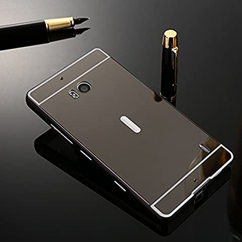 BtDuck Plated Mirror Case For Microsoft Nokia Lumia 930 Black Suitable For Individuality Female College Students Reflector Outdoors For Help Self-timer Effect Metal Frame Phone Accessories Protector Cover Anti-slip Anti-scratch Skin Outdoor Protection Simple Strict Shockproof Slim-fit Lightweight Shell Hybrid Bumper with Inner shell Hard PC Plastic Back Cover + 1 * Black Stylus Pen