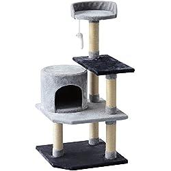 PawHut Árbol para Gatos Rascador Grande con Plataformas para gatos, Casetas Ratón de Juego 100cm Tablero de partículas Cubierto de Felpa Beige
