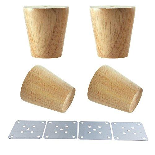 Glvanc, gambe coniche per mobili, in legno naturale, piedini in legno per armadietti e tavolini, confezione da 4 pezzi