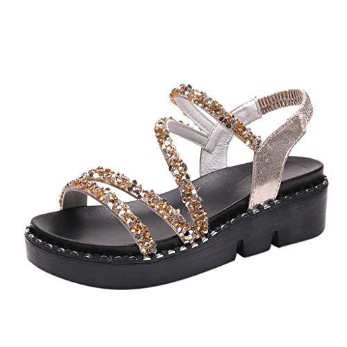 f8ec2da95 Modaworld Sandalias Mujer Verano 2019 Planas Sandalias Causal De Cristal De  Mujer Zapatos de Playa Sandalias