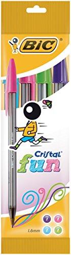 BIC Kugelschreiber Cristal fun (0.42 mm) Beutel 4 Stück, farbig sortiert