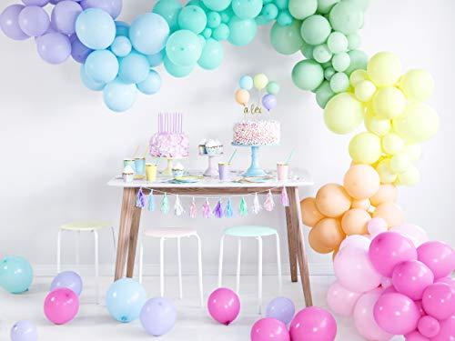 rbige Pastel Luftballons Pastell Bunte Ballons 27cm Geburtstag Partydeko Kindergeburtstag Deko, in 8 Pastelfarben ()