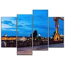 Impression sur Toile, Titan Crane in Nantes Ville Nuit Photos et Images de Collection Tableau Decoration Murale Photo Image Artistique Photographie Abstrait Art Peinture, 4 Parties