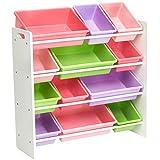 AmazonBasics - Portaoggetti per giocattoli dei bambini - Bianco/Colori pastello