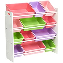 AmazonBasics Organiseur de rangement pour jouets d'enfants - Blanc/Pastel