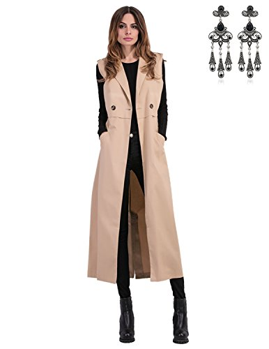 MODETREND Damen Mantel Lange Ärmellose Jacke mit Anzug Kragen Weste Übergangsmantel Staubmantel Windmantel Oberteil Tops Kaki