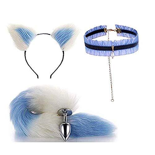 Fluffy Fox Kostüm Tail - Bnmgh White-Blue Fluffy B-ütt P-l-ǔ-g Fox Tail, Cat Ears Headband, Collar Choker for Cosplay Role Play Halloween Toys 3Pcs/Set