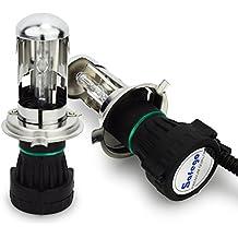 Safego 55W H4 Hi/Lo Bi-xenón HID Lámpara Luz de Xenon Headlight Bombillas de Repuesto H4-3 Bi Xenón 6000K Blanco para Coches