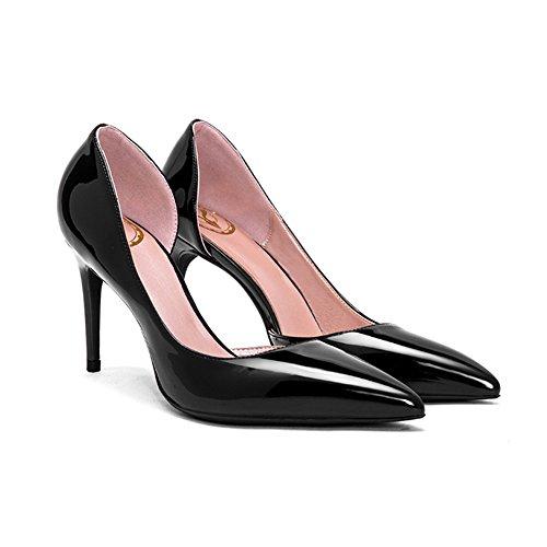 YIXINY Escarpin GD-668T Chaussures Simples Femme PU Amende Talon Pointu La Bouche Peu Profonde Mariage 8 CM Talons Hauts Noir