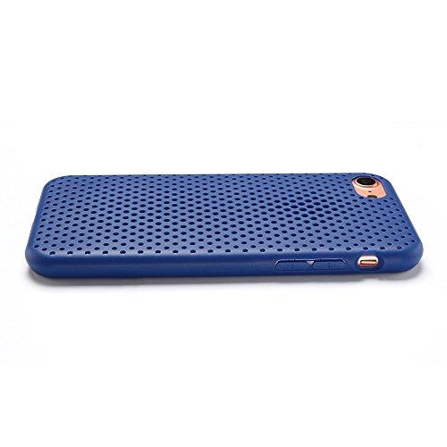 Cover iPhone 7 Custodia iPhone 7 Silicone Anfire Morbido Flessibile Gel TPU Case Cover per Apple iPhone 7 (4.7 Pollici) Ultra Sottile Leggera Opaco Antiurto Protettivo Bumper Shell La Ventilazione La  Blu