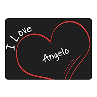 I Love Angelo Black Modern Mousemat