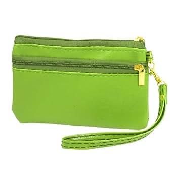 Women Zip-up Nylon Lining Lychee Prints Faux Leather Wrist Bag Purse