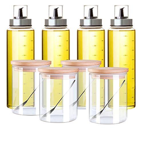 Jansudy vaso per olio in vetro per casa bottiglia per condimento solido set per stoccaggio olio/salsa di soia/sale/zucchero