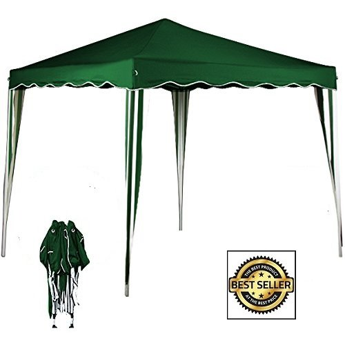 91734–Carpa plegable 3x 3plegable a Acordeón automático Feria cortina Color Verde a Rayas blancas con bolsa, VERDE