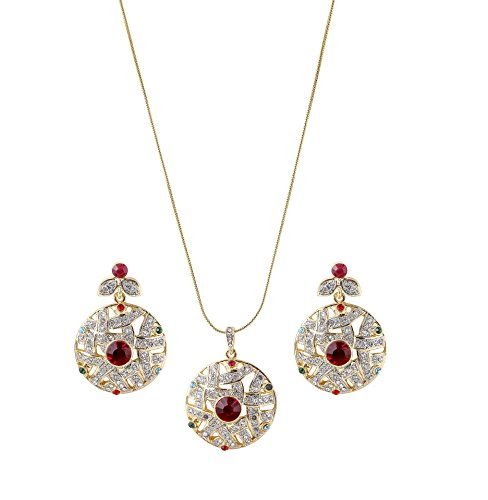 sempre-london-18ct-yellow-gold-two-tone-plated-red-ruby-glory-pendant-with-designer-earrings-in-crys