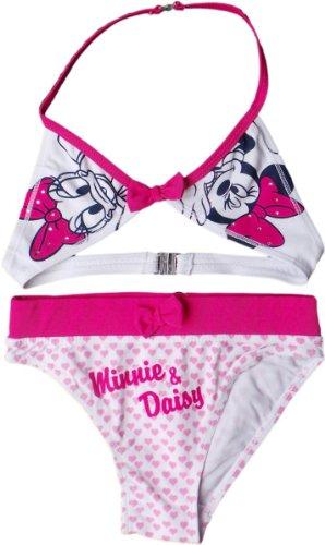 Daisy Bikini (Disney Minnie Maus und Daisy Duck Bikini - Minnie und Daisy - mit Glitzersteinchen und Glitzeroptik- Pink/Weiß)