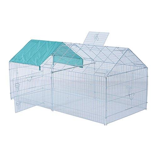 Pawhut – box gabbia da esterno per animali domestici con tettuccio spiovente in ferro 203 x 103 x 98cm