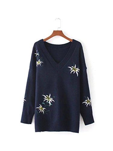 HUA&X Féminin lâche l'Épaule chandail tricoté Top col en V pull en tricot Dark Blue