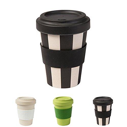 ECO Friendly Bambus Trinkbecher mit Deckel und Silikonmanschette von kaufdichgrün I Melamin Becher Bamboo Cup Travel Mug Mehrweg Kaffeebecher to go BPA frei I schwarz weiß 300 ml