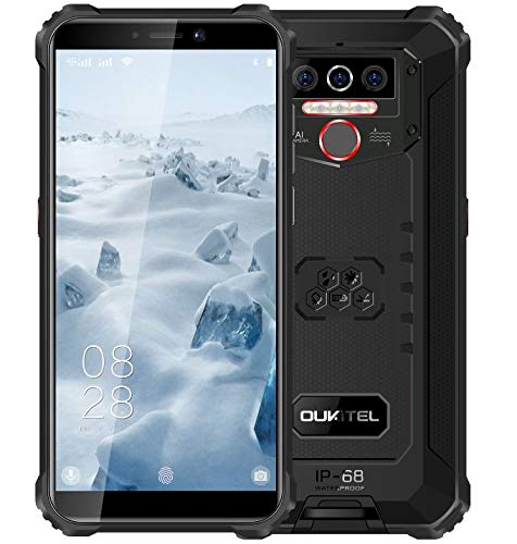 OUKITEL WP5 (2020) 4G Outdoor Smartphone ohne Vertrag, 8000mAh Batterie 4 LED Blitzlicht, Robustes Handy IP68, MTK6761 4GB + 32GB, 13MP + 2MP + 2MP, Android 9.0, Gesichtserkennung, GPS WiFi Schwarz