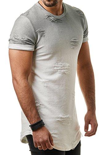 EightyFive Herren T-Shirt Basic Regular Destroyed Zerrissen Gerippt Grau Grün EF09165 Grau