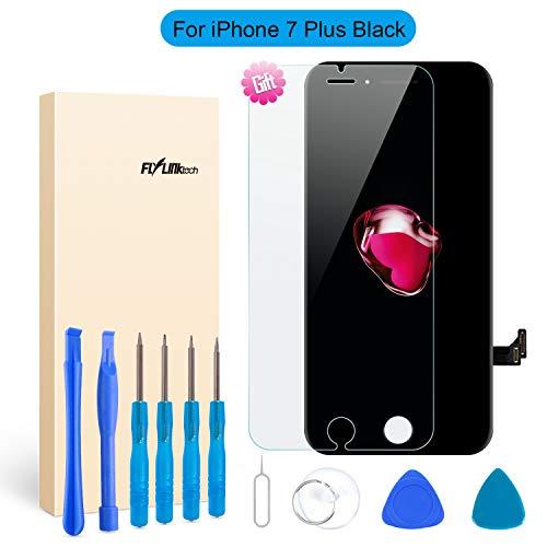 Flylinktech Ersatz-Display schwarz für iPhone 3D Touch LCD Screen Ersatz-Digitizer Rahmen Display Montage-Set mit Repair Tool Kit, iPhone 7plus Black (Tool Kit Black)