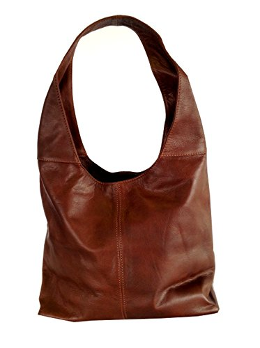 Chestnut Brown Soft Italian Leather Handbag, Shoulder Bag or Slouch Bag  - 410fp nCFUL - Chestnut Brown Italian Leather Shoulder Handbag  - 410fp nCFUL - Deal Bags