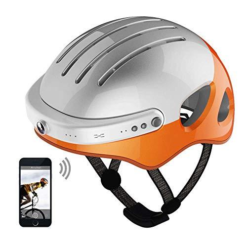 Yu-helmet Casco da Equitazione Intelligente, Scooter da Moto Sport estremi Casco di Sicurezza Supporto videocamera Registrazione Video registratore di Guida Chiamata Bluetooth Musica,L(53~58cm)