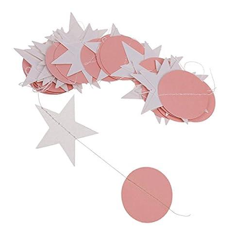 MagiDeal Guirlande Suspendu de Bannière Etoile et Disque Rond en Papier Décoration Anniversaire Mariage - Rose, 4m