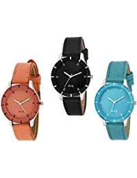 ATTRACTIONZ Analogue Multicolour Dial Women's Watch (Pack of 3)